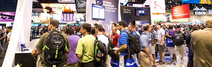 crowds at the vendor booths, Cisco Live
