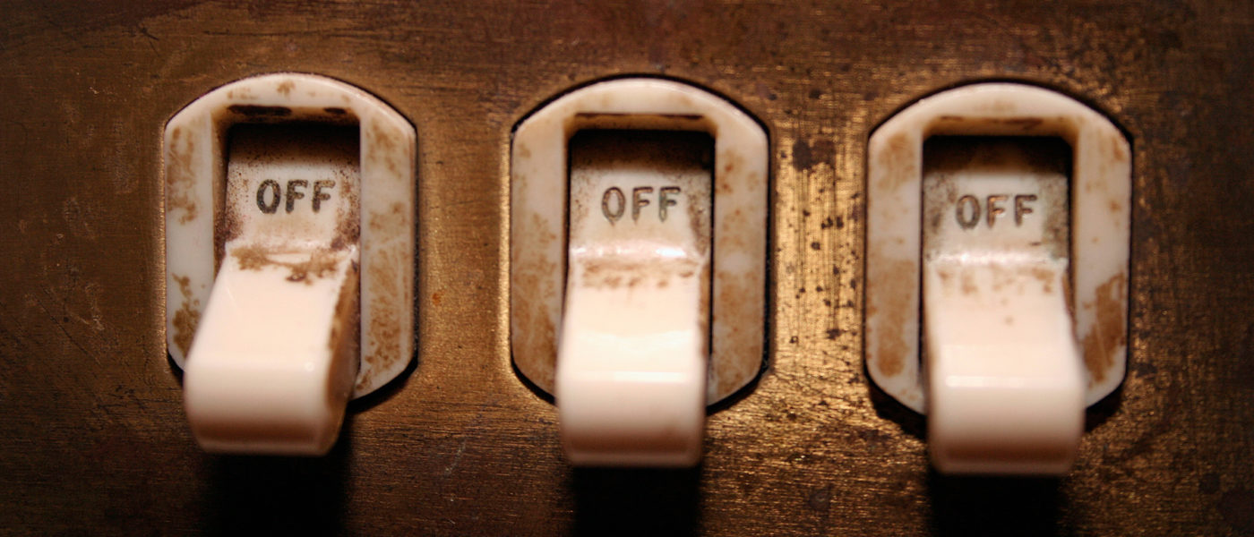 lights switches off shutting down a network device