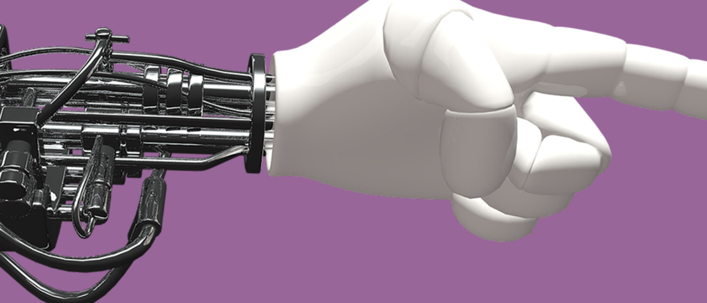 White robot hand pointing with index finger