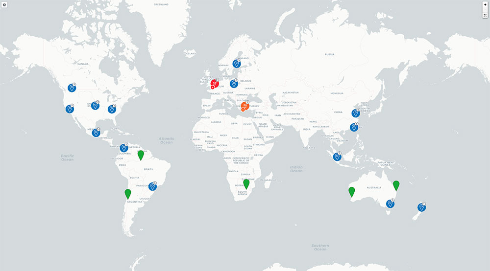 screenshot showing geographical map with multiple locations