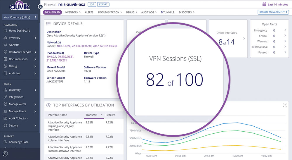screenshot showing VPN monitoring