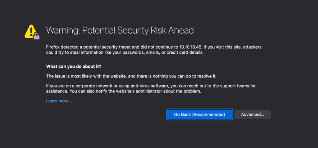 Web browser security risk warning dialogue for TLS inspection