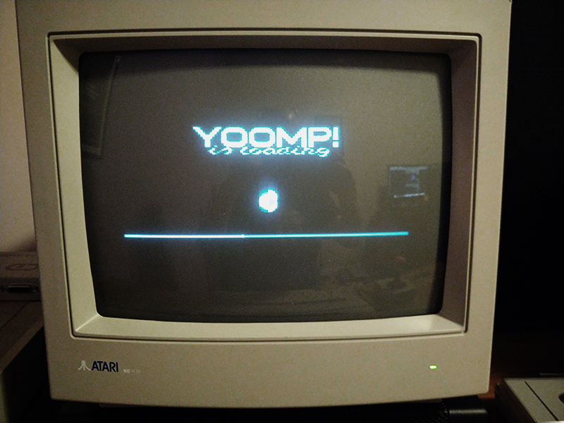 """Yoomp! The 2007 reinvention of """"Jump"""" for Atari 8-bit, is loading over the internet!  Awesome!"""