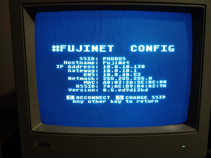 Success! #FujiNet has been assigned an IP address by my DHCP server